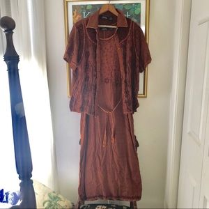 MPH Collection Boho/Witchy Rust Maxi Dress